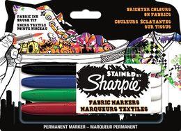 PAPERMATE S0962141 SHARPIE WÄSCHEMARKER 4er Blister (schwarz, blau, rot, grün)